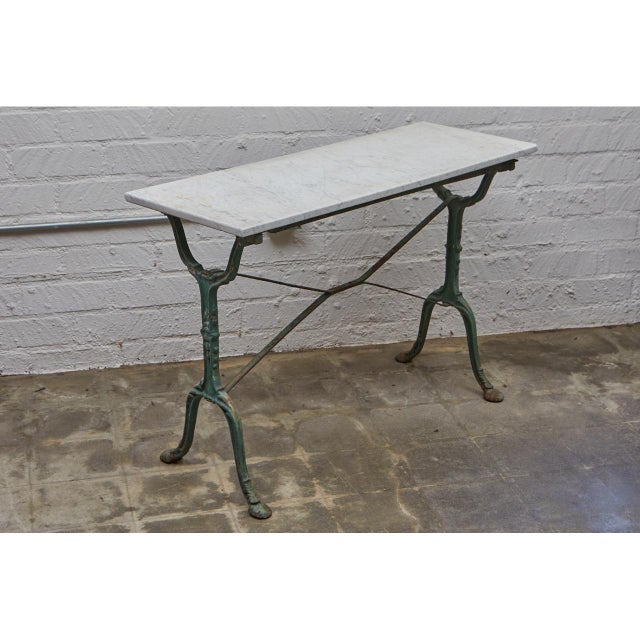 French Cast Iron Cafe Table With Marble Top For Sale - Image 4 of 8
