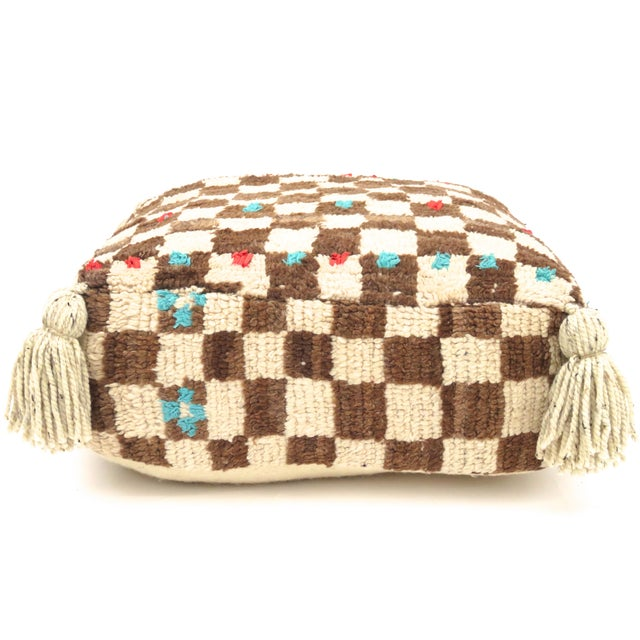 Vintage Mid Century Checkered Berber Pouf For Sale - Image 4 of 11