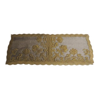 Antique Silver and Gold Embroidered Stumped-Work Textured Finish Textile For Sale