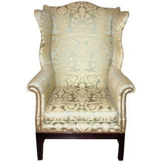 Early 20th Century Silk Damask Wingback Library Chair For Sale