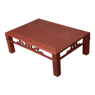 Baker Furniture Hollywood Regency Chinoiserie Carved Mahogany Coffee Table, Newly Refinished For Sale