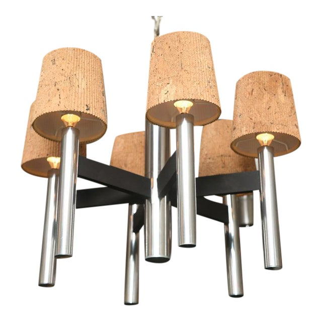 Modern Feldman Lamp Co. Chrome Tubular Chandelier With Cork Shades. - Image 3 of 11