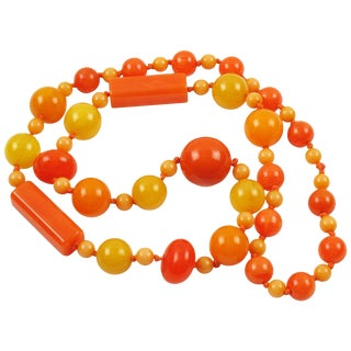 Bakelite Necklace Extra Long Shape Summer Sunny Colors Marble Beads For Sale