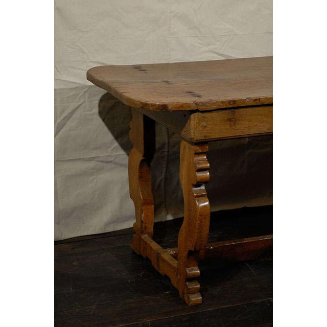 Rustic Italian 18th Century Trestle Farm Table With Lyre Shaped Legs For Sale - Image 3 of 10