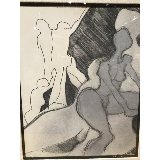 Mid Century Abstract Nude Drawing For Sale - Image 4 of 5