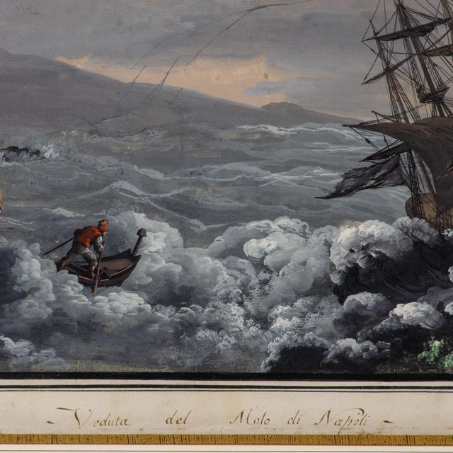 """Early 19th Century Camillo De Vito """"View From Naples Pier"""" Gouache Painting C.1820s For Sale - Image 5 of 11"""