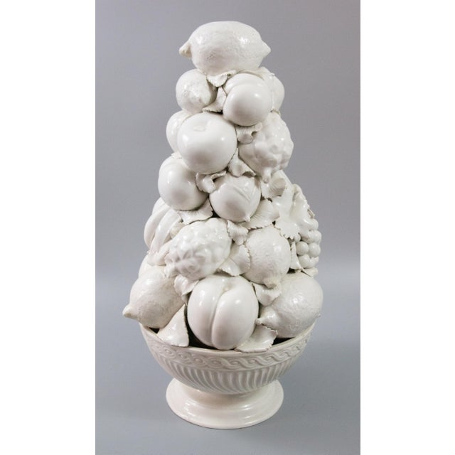 French Country Italian White Creamware Fruit Topiary Centerpiece For Sale - Image 3 of 11