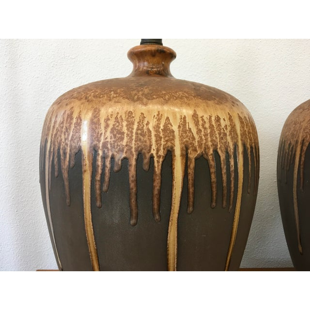 Mid-Century Modern Mid-Century Modern Glazed Ceramic Lamps - A Pair For Sale - Image 3 of 6