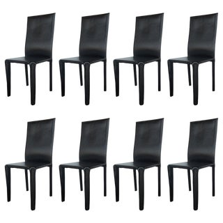 Twelve Italian Black Leather Dining Chairs by Arper For Sale