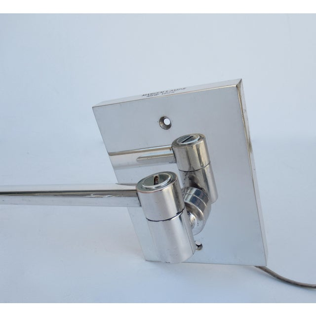 Vintage C.1970's Georg Hanson for Hanson Lighting Co. Chrome-Plated Swing-Arm Wall Sconce- Single For Sale - Image 10 of 13