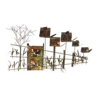 1960s Brutalist Curtis Jere Brass and Copper Wall Sculpture For Sale