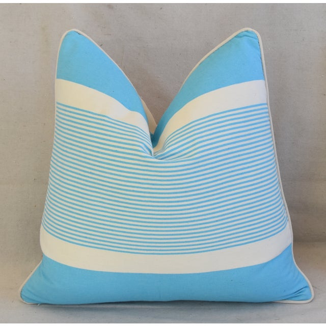 """Americana French Blue & White Nautical Striped Feather/Down Pillows 22"""" Square - Pair For Sale - Image 3 of 13"""
