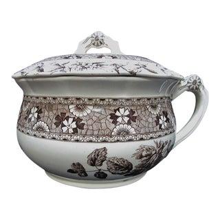 "T. Furnival & Sons Brown Hazel 9"" Chamber Lidded Pot For Sale"