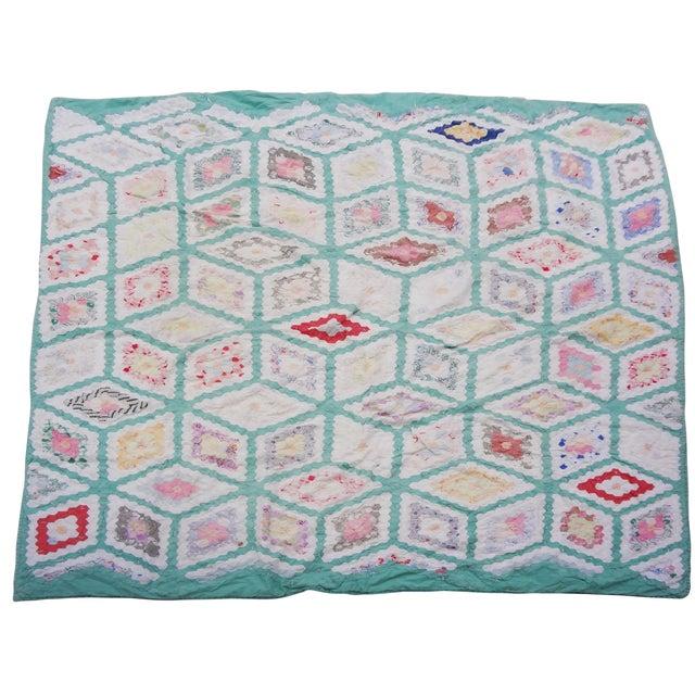 Grandmother's Flower Garden Hexagon Quilt C. 1943 For Sale - Image 10 of 10