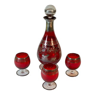 Ruby Red Glass Czech Bohemian Venetian Decanter & Glasses W/ Silver Overlay - 4 Piece Set For Sale