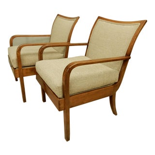 Pair Elegant Art Deco Armchairs For Sale