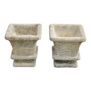 1990s Vintage Cast Concrete Cement Woven Basket Garden Planters- A Pair For Sale