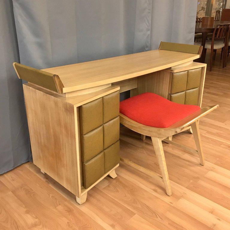An Early Mid Century Vanity And Bench Set By Master Of American Modernism Gilbert  Rohde