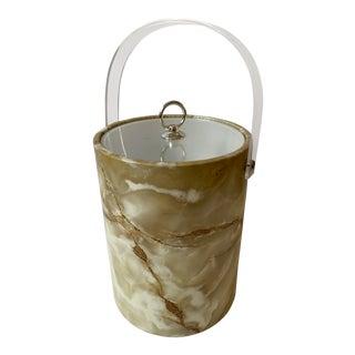 Vintage Onyx Laminate Ice Bucket For Sale
