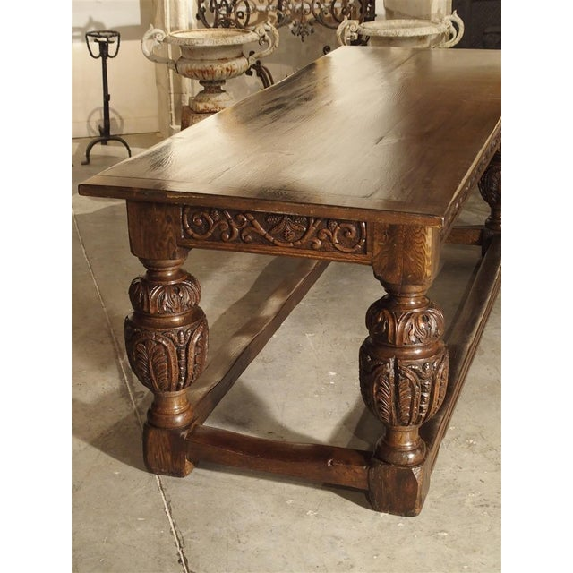 Antique Oak Elizabethan Style Table, England 19th Century For Sale - Image 9 of 13