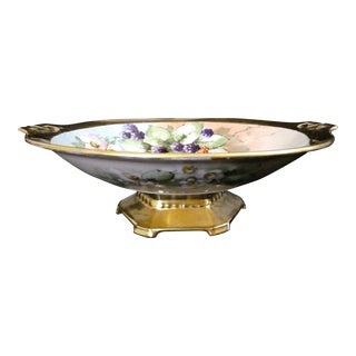 Antique Austrian Hand Decorated Footed Compote Serving Bowl For Sale