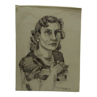 "1950s Figurative Original Drawing/Sketch on Paper ""Very Serious"" by Tom Sturges Jr For Sale"