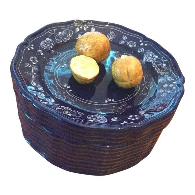 Vintage Este Ceramiche Tiffany & Co. R1029 Walnut Nut Bowl & Lid, Cobalt, Signed For Sale