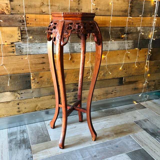 Chinese Vintage Chinese Hand Carved Wood Marble Top Pedestal Table For Sale - Image 3 of 9