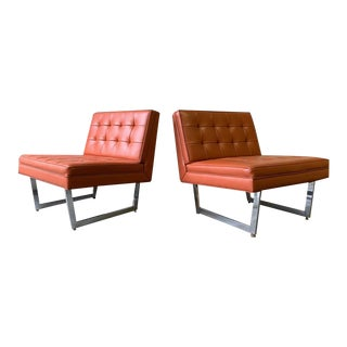 Tangerine Orange Mid Century Modern Chrome Patrician Tufted Lounge Chairs For Sale