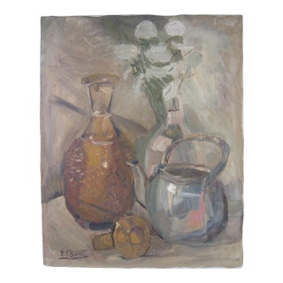 Vintage Mid-Century Still Life Signed Painting For Sale