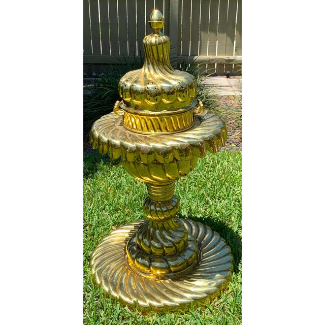 Large Turkish Spiral Brass Brazier For Sale - Image 11 of 12