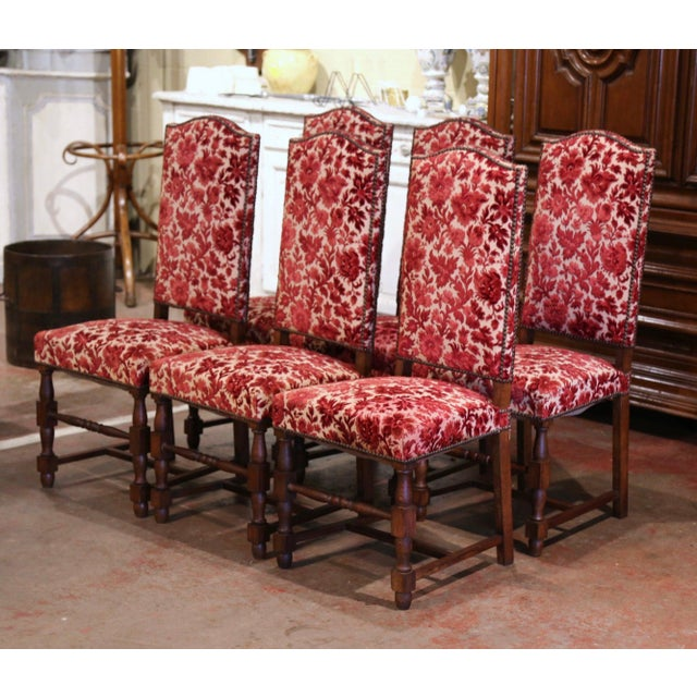 Place this elegant suite of six side chairs around your breakfast table for a true country French look. Crafted circa 1920...