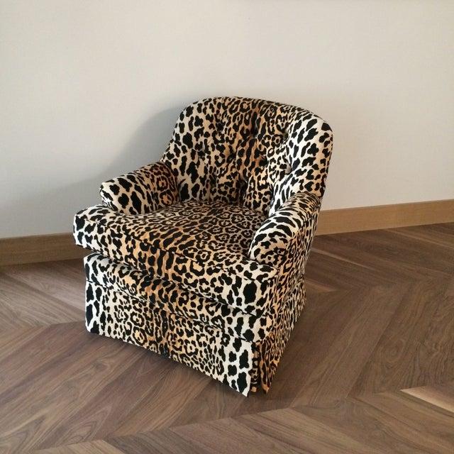 Mid Century Velvet Leopard Print Club Chair For Sale - Image 4 of 7