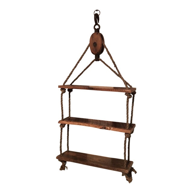 Rustic Pulley & Rope Shelf For Sale