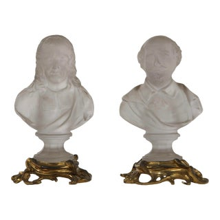 19th Century Antique Shakespeare & Milton Glass Busts - A Pair For Sale