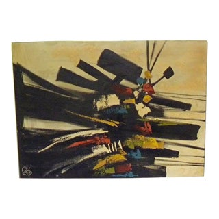 Vintage Mid-Century Modern Etta Cien Original Signed Abstract Painting For Sale