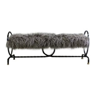 1940's Antique Wrought Iron Brass & Faux Fur Bench For Sale