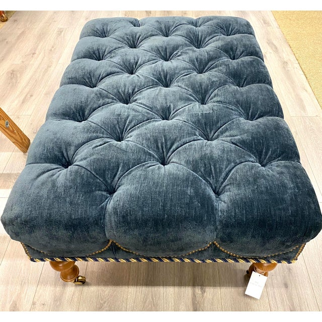 Navy Blue Velvet Tufted Navy Blue Ottoman on Casters W/ Nailhead and Cording Detail For Sale - Image 8 of 8