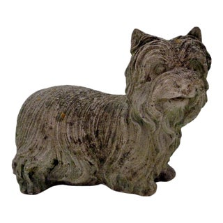 Vintage Cement Yorkshire Terrier Dog Statuary For Sale