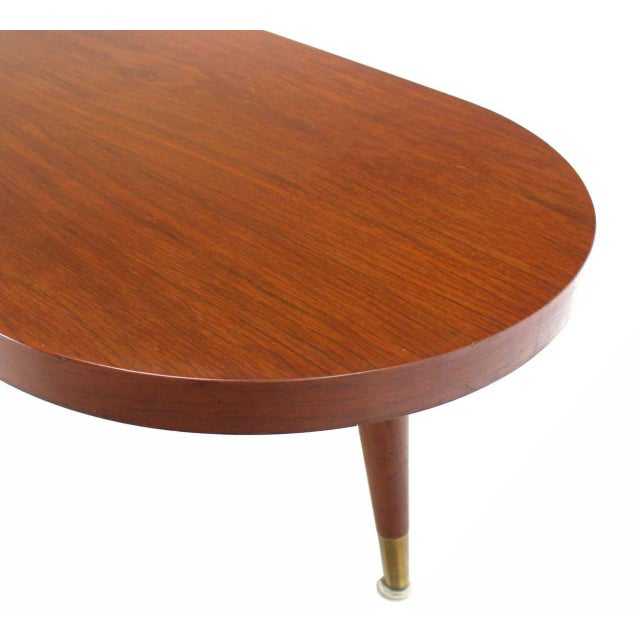 Mid Century Modern Walnut Organic Kidney Shape Coffee Table Round Glass Top For Sale - Image 4 of 10