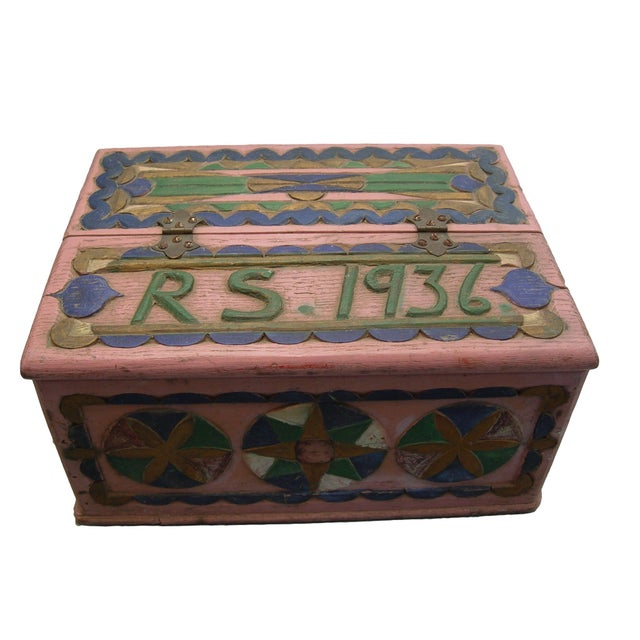 1936 Folk Art Carved and Painted Box - Image 1 of 7