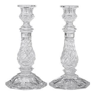 Mid 19th Century William IV Cut Glass Candlesticks - a Pair For Sale