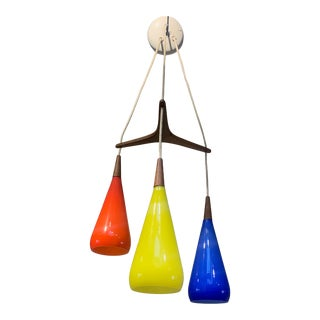 1960s Prescolite Pendant Hanging Swag Lamp in Red Yellow Blue For Sale