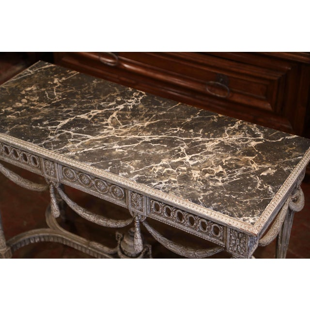 Late 19th Century Pair of 19th Century French Carved Painted Consoles Tables With Faux Marble Top For Sale - Image 5 of 12