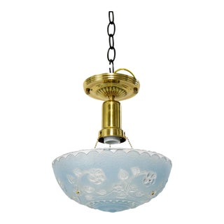 Mid 20th Century Blue Glass Pendant Light For Sale