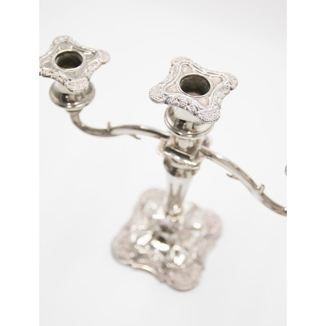 Antique English Silver Plate Candelabra & Candlesticks - Set of 3 For Sale - Image 4 of 7