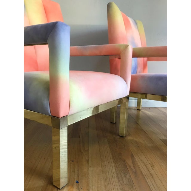 1970s Mid Century Colorful Velvet Upholstered Brass Base Arm Chairs -A Pair For Sale - Image 5 of 9