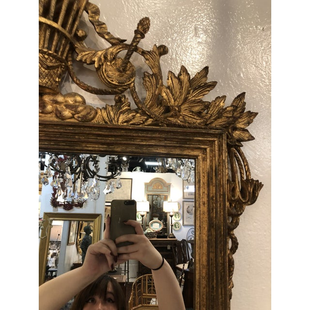 Gold Gilt Mirror With Balloon Basket Frieze For Sale - Image 8 of 13