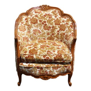 Vintage French Provincial Rococo Orange & White Accent Chair For Sale