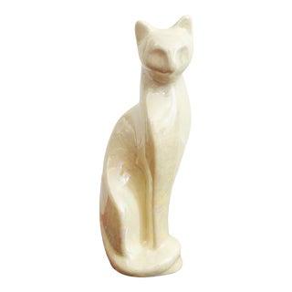 Mid Century White Iridescent Ceramic Cat Sculpture For Sale